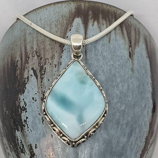 Sterling silver teardrop larimar gemstone pendant
