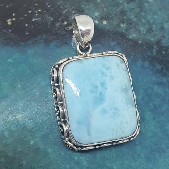 Sterling silver larimar gemstone pendant