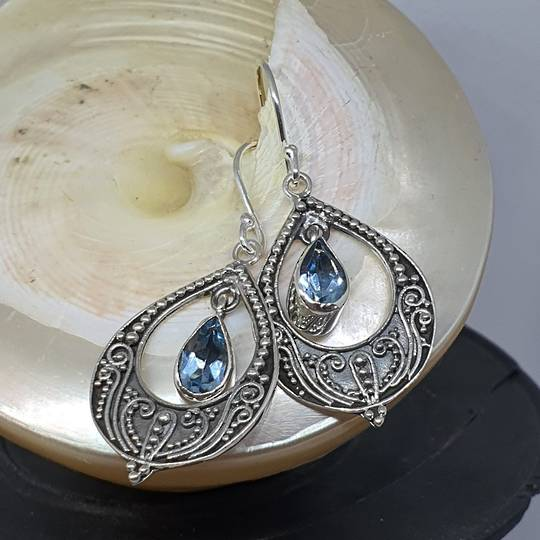 Delicate filigree silver blue topaz hook earrings