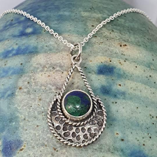 Sterling silver malachite azurite pendant