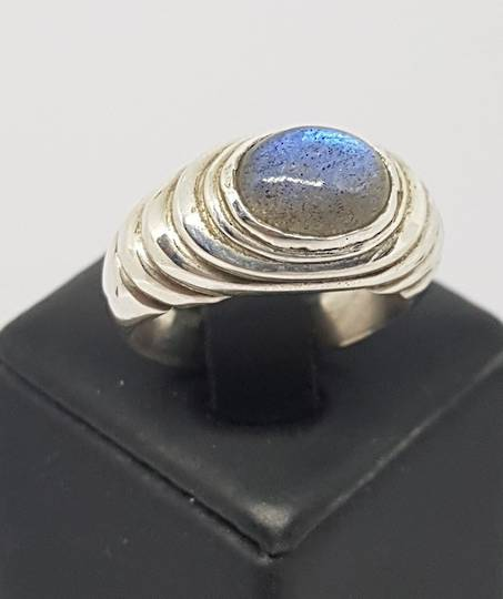 Labradorite in Concentric Circles Ring