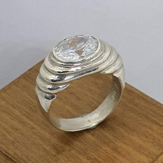 Made in NZ, silver cubic zirconia ring