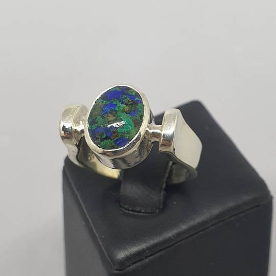 Azurite malachite silver ring, made in NZ