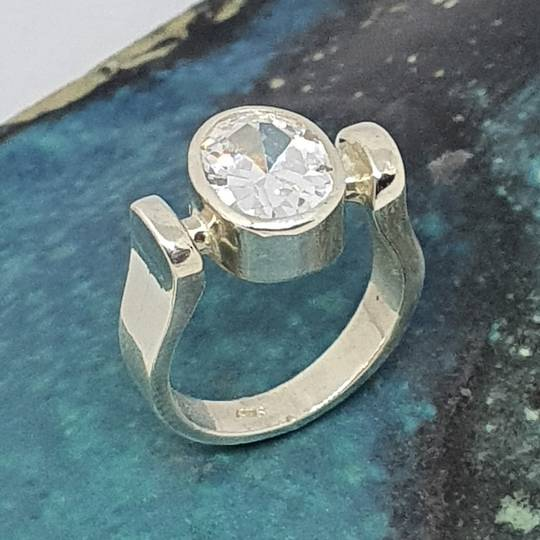 Sterling silver ring with large cubic zirconia