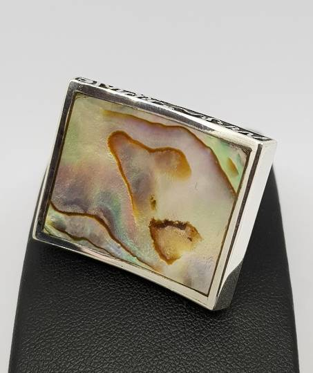 Large designer ring inset with paua shell