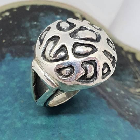 Chunky silver dress ring