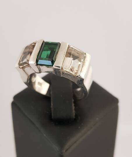Sterling silver green and smoky quartz ring