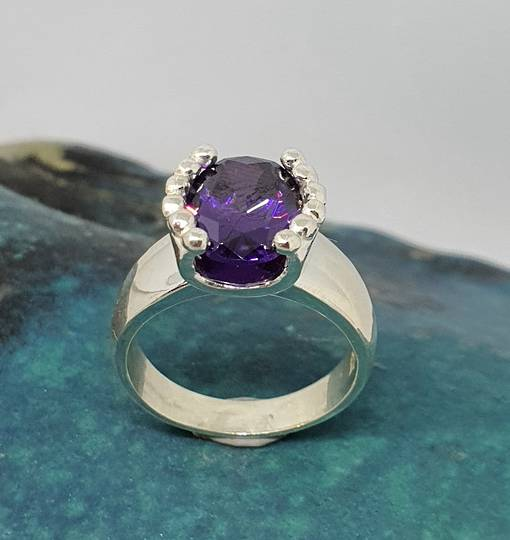 Silver ring with deep purple stone - made in NZ