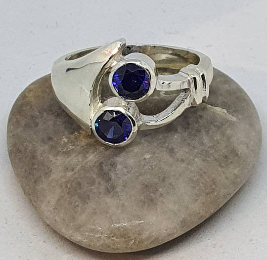 Sterling silver blue gemstone ring, made in NZ
