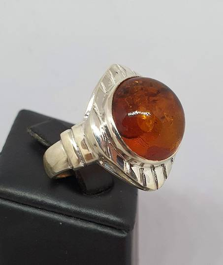 Chunky silver amber ring, made in NZ