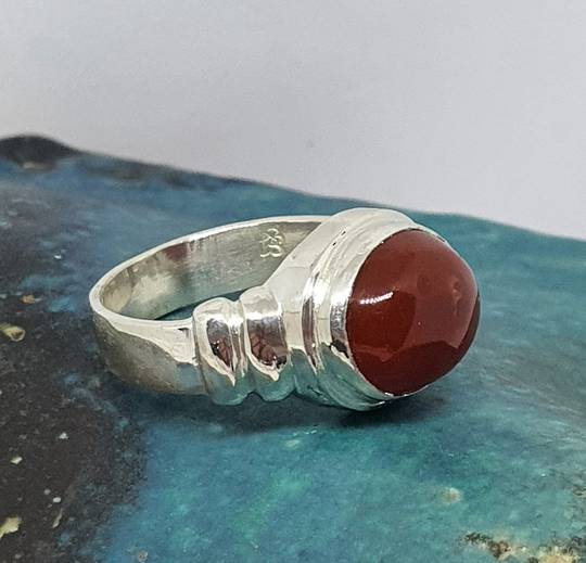 Silver carnelian ring , made in New Zealand
