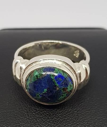 Azurite with Malachite silver ring | Made in NZ