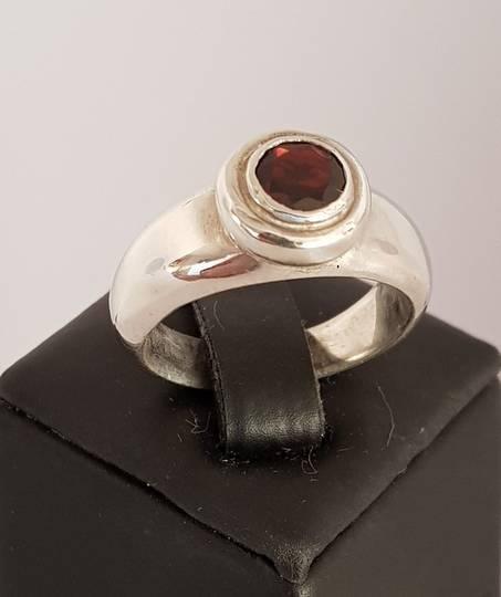 Sterling silver garnet ring - made in NZ