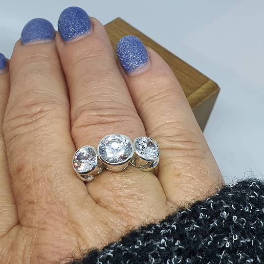 New Zealand made silver cubic zirconia ring