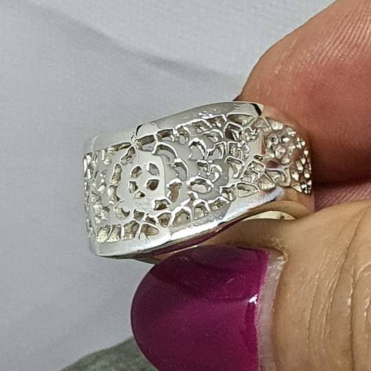 Chunky lace silver ring, made in NZ