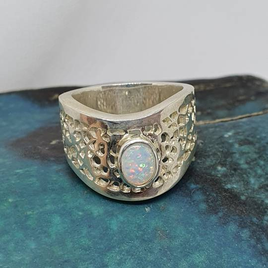 Sterling silver wide lace ring with opal