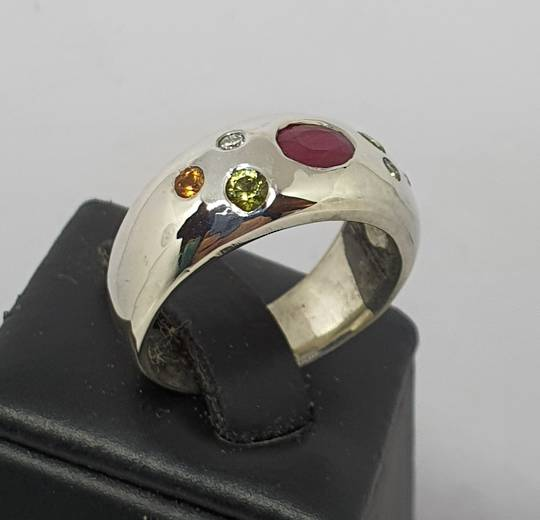 Silver dome ring with natural gemstones and diamonds