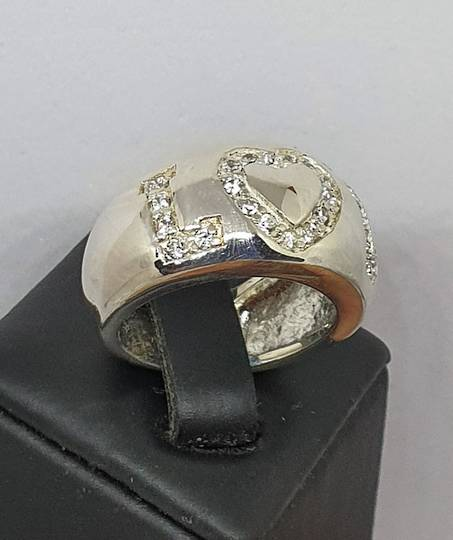 Chunky sterling silver ring with LOVE in CZ