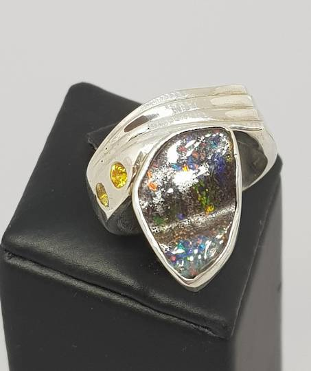 Boulder opal and natural yellow sapphire silver ring
