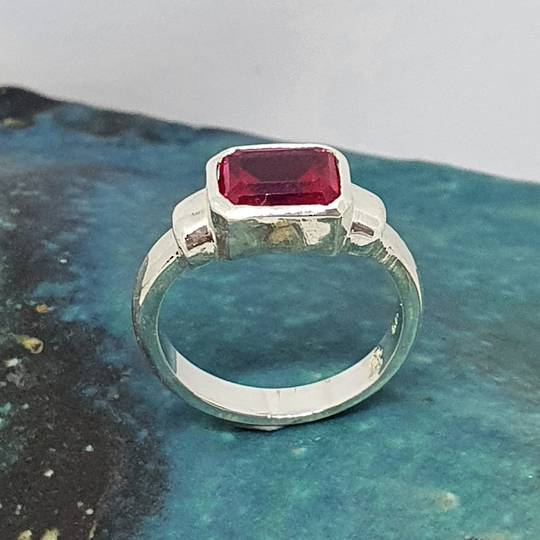 Silver ring with rectangle synthetic ruby gemstone - made in NZ