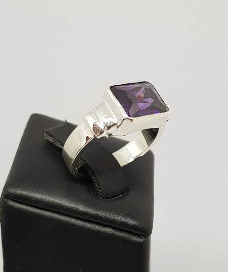 Silver ring with rectangle deep purple stone - made in NZ