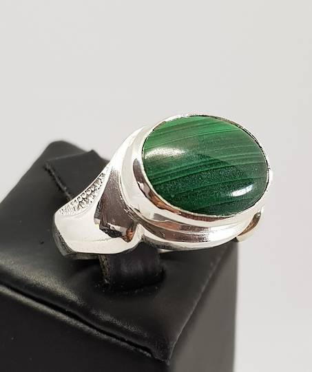 Made in New Zealand, sterling silver malachite gemstone ring
