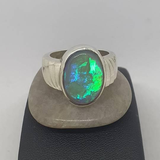 Australian opal ring, large oval, blue/green
