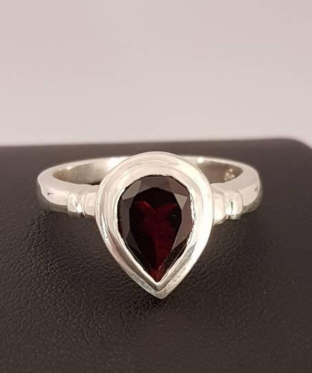Silver ring with teardrop garnet gemstone - made in NZ