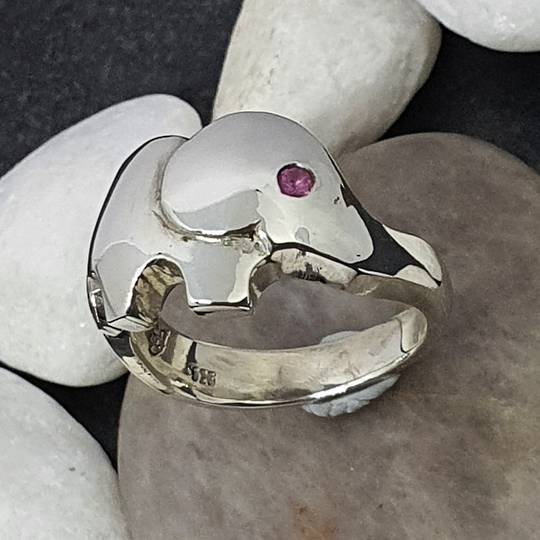 Sterling silver elephant ring with pink sapphire