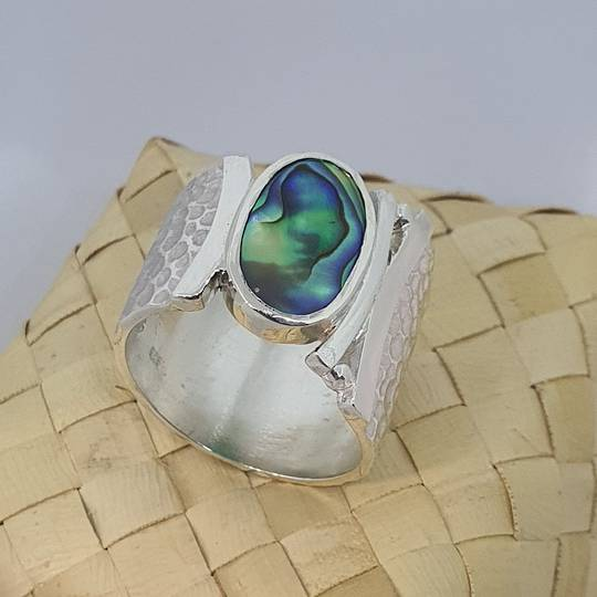 Wide hammered silver ring with NZ paua shell