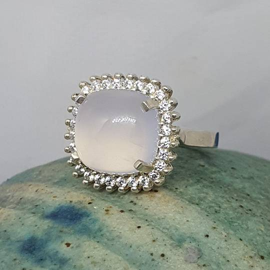 Sterling silver milky blue chalcedony ring