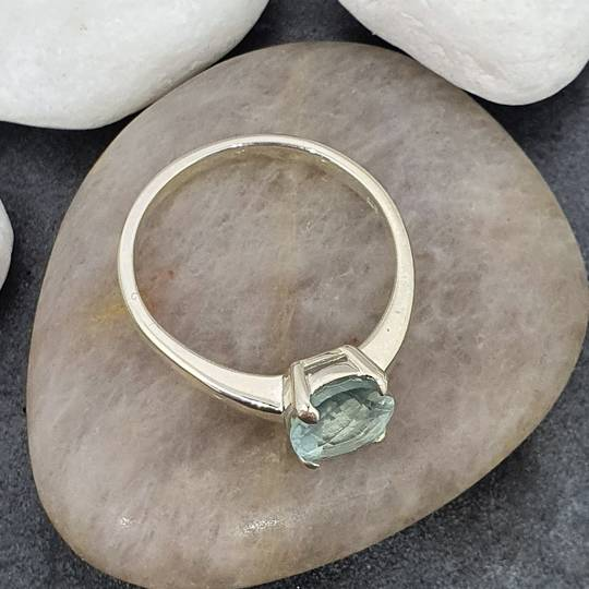 Sterling silver blue fluorite ring