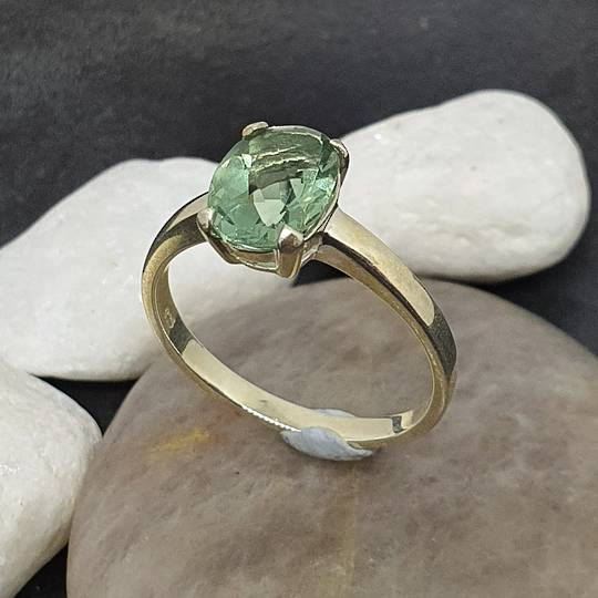 Sterling silver green fluorite ring
