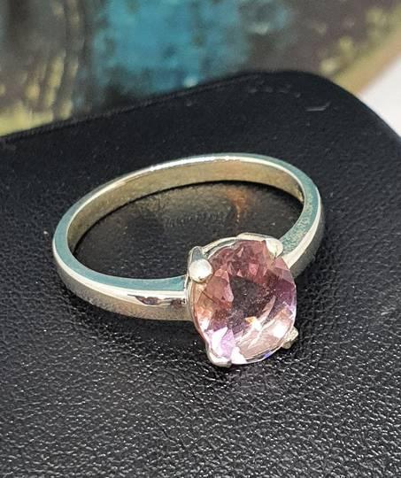 Silver pink fluorite ring