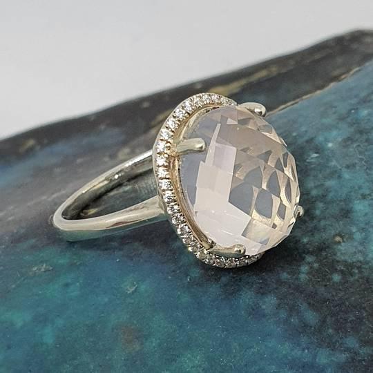 Large oval rose quartz silver ring