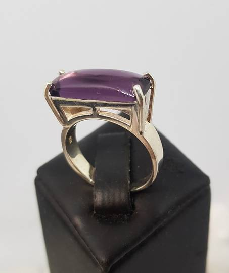 Sterling silver ring with purple fluorite gemstyone