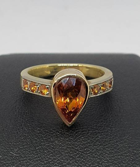 9ct yellow gold synthetic sapphire and natural sapphire ring
