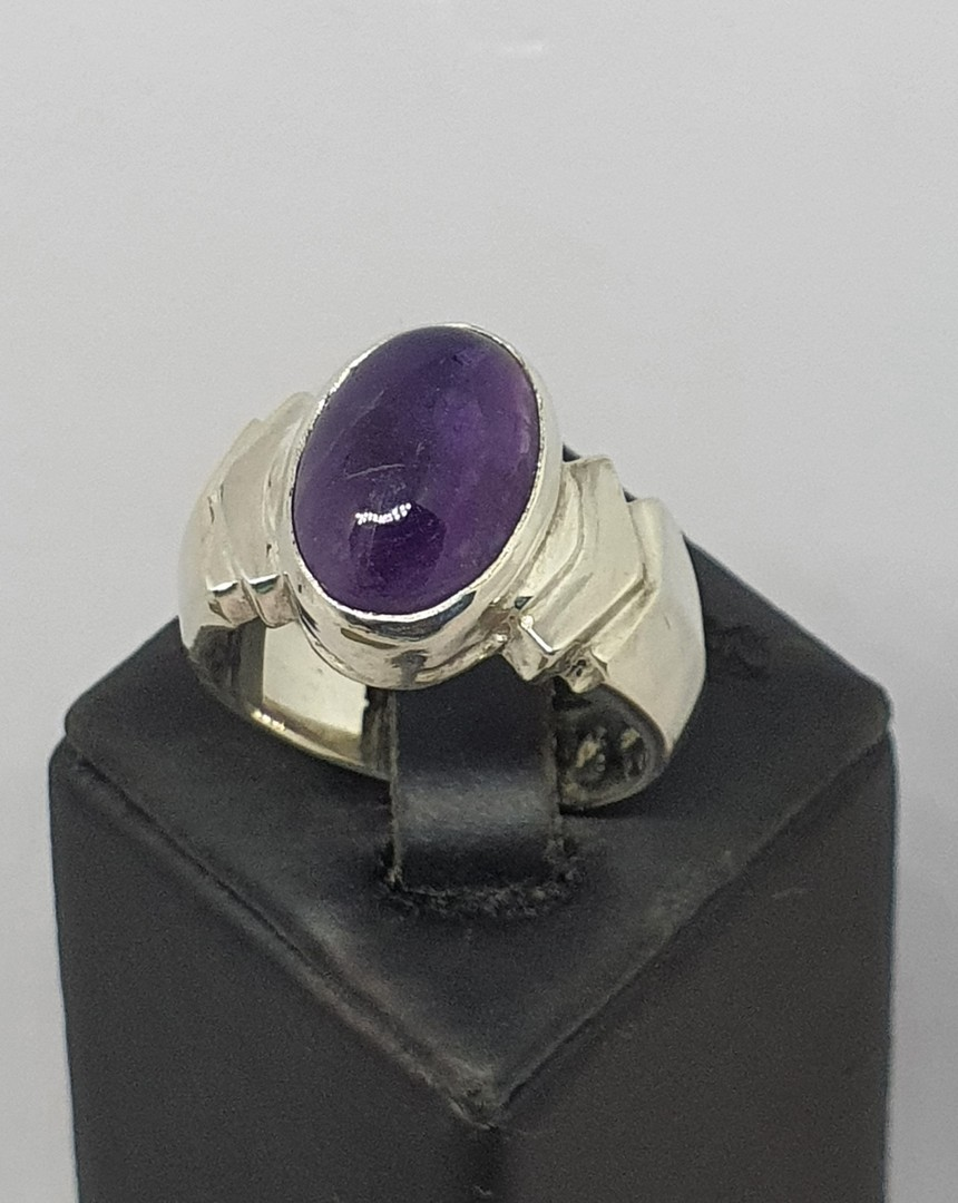 Sterling silver natural amethyst ring - made in NZ