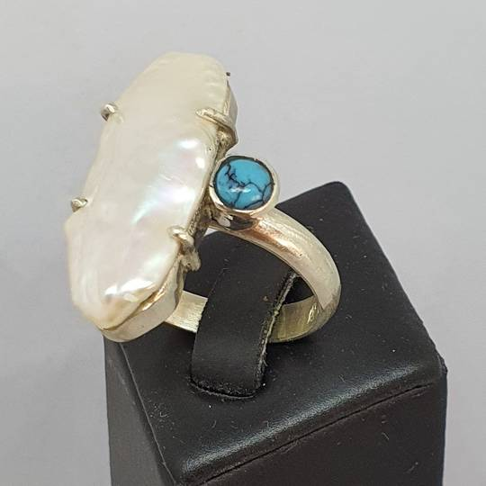 Large fresh water pearl offset with turquoise gemstone, sterling silver ring