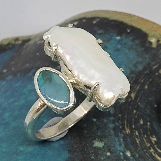 Large fresh water pearl and opal ring