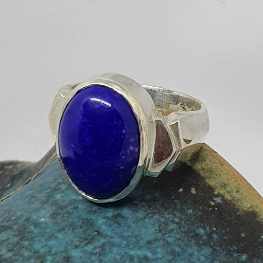 Sterling silver oval lapis lazuli ring, made in NZ