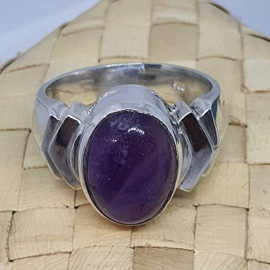 Sterling silver oval amethyst ring, made in NZ
