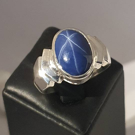 Sterling silver blue star sapphire ring - made in NZ