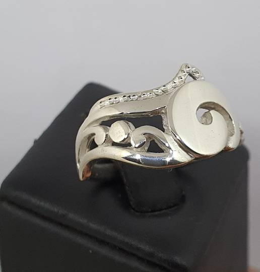 Sterling silver koru ring, made in NZ