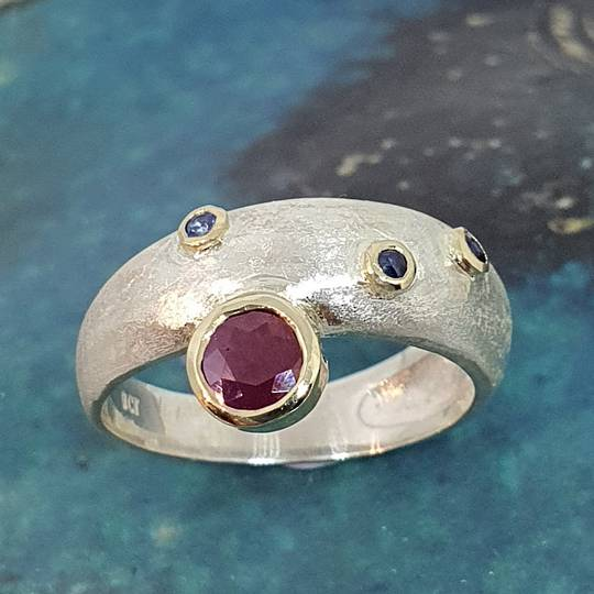 Made in NZ silver ruby and sapphire ring