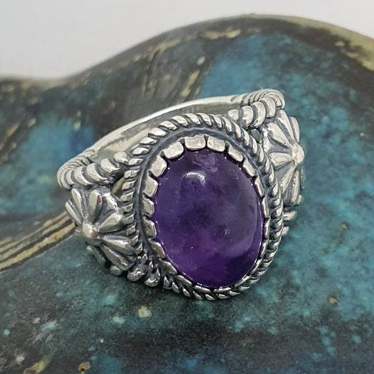 Sterling silver natural amethyst flower ring