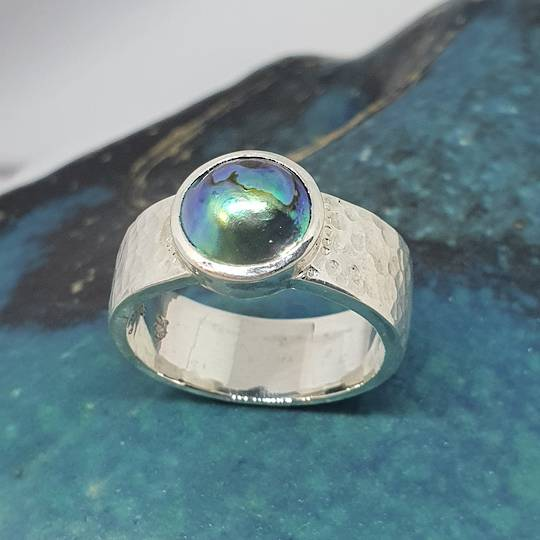 Silver paua pearl ring - made in NZ