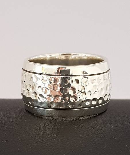 Sterling silver wide band ring  with hammered detail