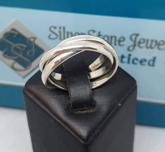 Sterling silver interlocking rings - three bands of funky fun