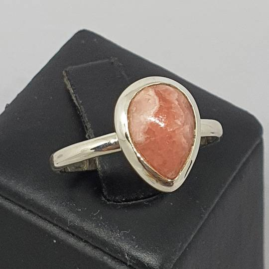 Teardrop rhodochrosite gemstone ring